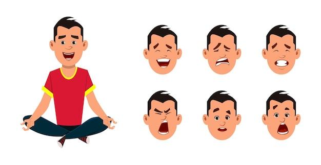 Junge, der yoga macht oder meditation entspannt. geschäftsmann charakter mit unterschiedlichem gesichtsausdruck