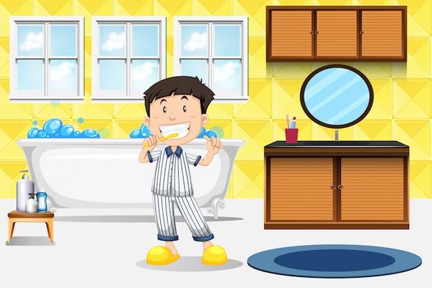 Junge, der zähne putzt
