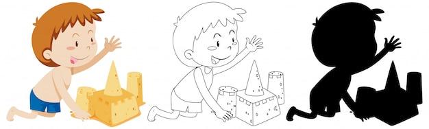 Junge, die sandburg mit seinem umriss und der silhouette baut