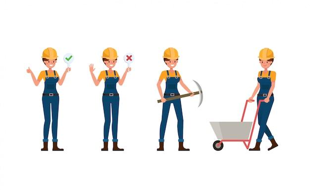 Junge erbauerfrau in der blauen uniform