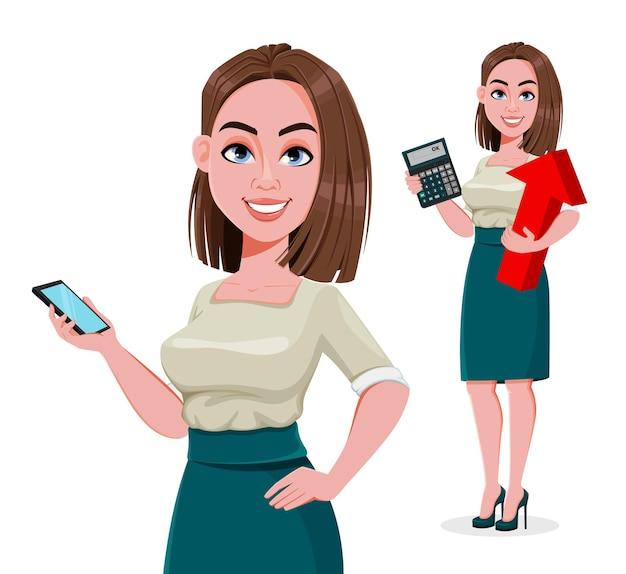 Junge erfolgreiche geschäftsfrau mit zwei posen mit taschenrechner und smartphone and