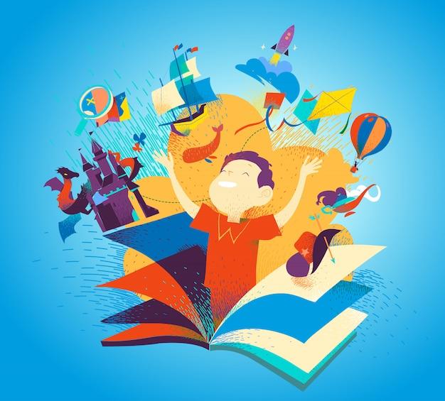 Junge erscheint aus einem buch. das konzept, bücher zu lesen, ist ein abenteuer. kinderphantasie, geschichten, geschichten, entdeckungen. bunter buchumschlag der kinderliteratur.