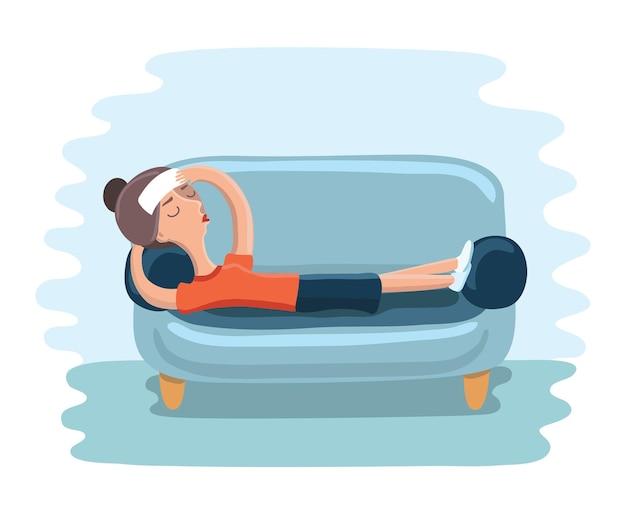 Junge erwachsene frau, die auf dem sofa mit krankheit liegt