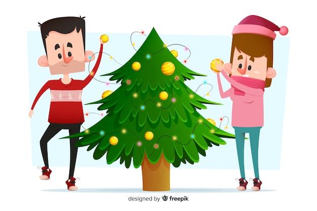 Junge erwachsene paare, die den weihnachtsbaum verzieren