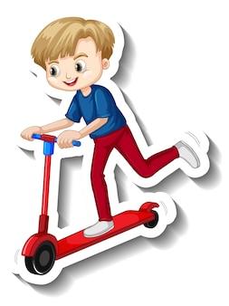 Junge fährt auf einem rollerkarikaturaufkleber