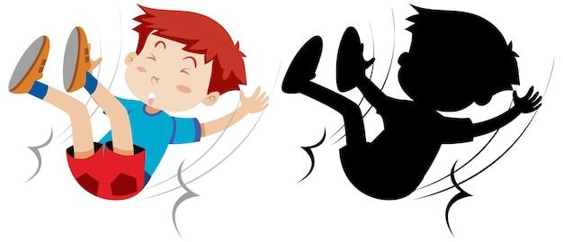 Junge fallen mit seiner silhouette hin