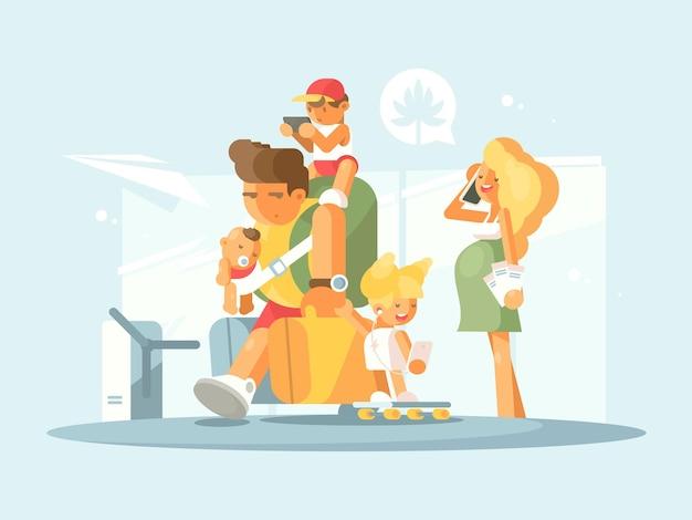 Junge familie am flughafen. vater mit kleinen kindern und gepäck. schwangere mutter spricht telefonisch. abbildung
