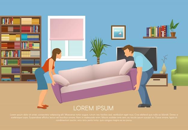 Junge familie am wohnzimmerdesign mit mann und frau, die sofa vektorillustration bewegen