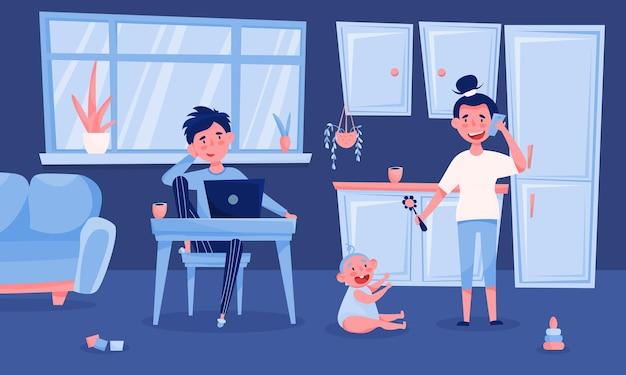 Junge familie der freiberufler mit baby, das nach hause blaues interieur lustiger karikaturzusammensetzungsvater mit laptopillustration arbeitet