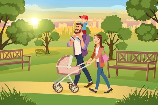 Junge familie, die mit kindern im park-vektor geht
