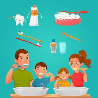 Junge familie, die zusammen zähne putzt