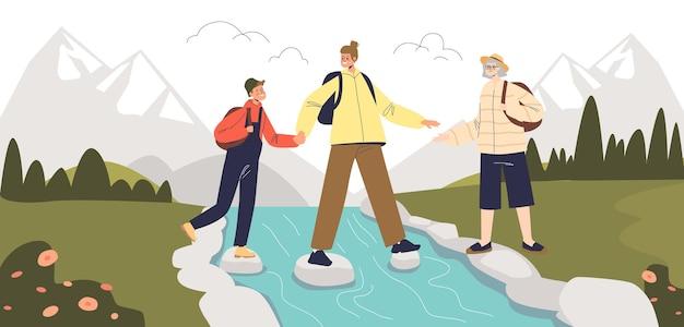Junge familie im aktivurlaub, die zusammen in den bergen wandert. eltern und kinderwanderer mit rucksäcken wandern, überqueren den bergfluss. flache vektorillustration der karikatur