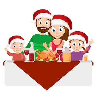 Junge familie in den roten hüten am weihnachtsessen auf weißem hintergrund.