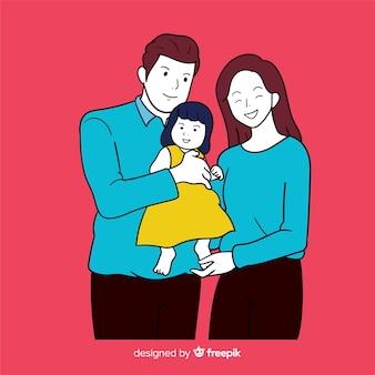 Junge familie in der koreanischen zeichnungsart