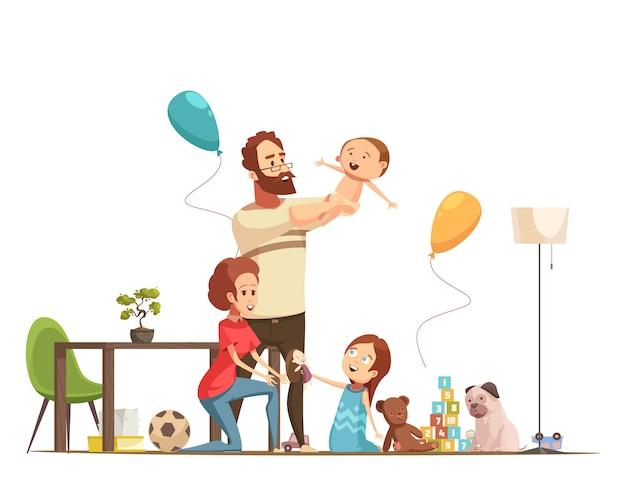 Junge familie mit den kindern nach hause, die mit retro- karikaturplakat des babys und des kleinen mädchens spielen