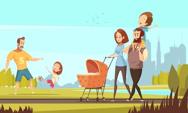 Junge familie mit kleinkind und baby, die in den park im freien mit retro- karikatur des stadtbildhintergrundes geht, vector illustration