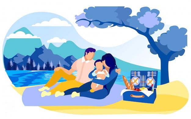 Junge familie mit kleinkindkind auf picknick im land