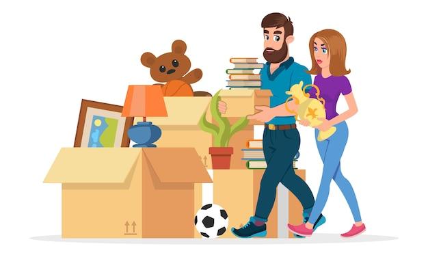 Junge familie sammelt dinge, um in andere wohnungen zu ziehen, wohnung.