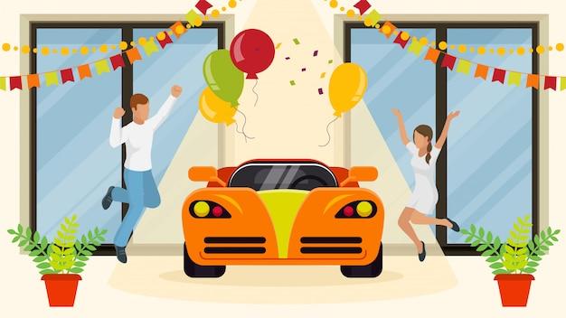 Junge familie schönes paar kaufen neues auto, charakter männliches weibliches paar gewann luxusfahrzeug, flache vektor-illustration. sportwagen maschine geschenk.