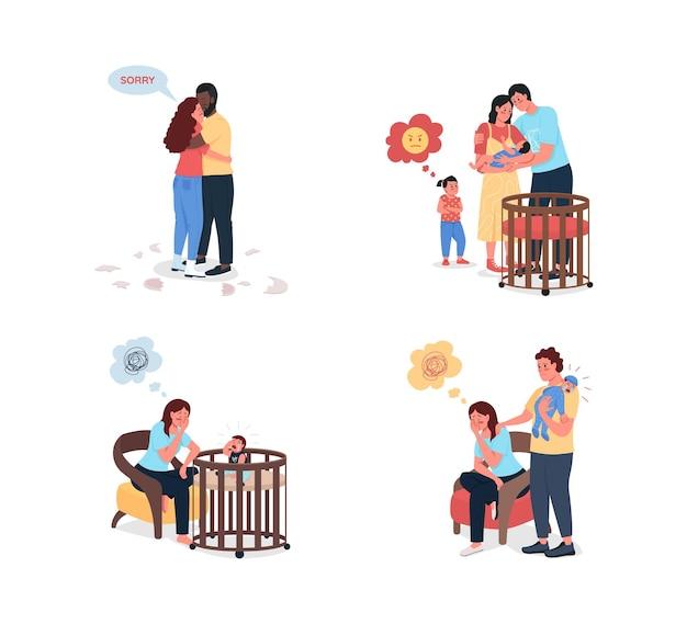 Junge familienprobleme flach farbdetaillierter zeichensatz. eifersüchtiges kind. depressive mutter. beziehungsprobleme isolierte karikatur