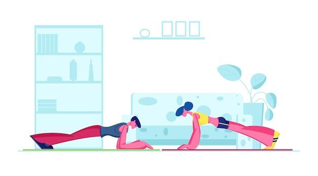 Junge fit sportliche frau und mann, die planke zu hause tun. karikatur flache illustration