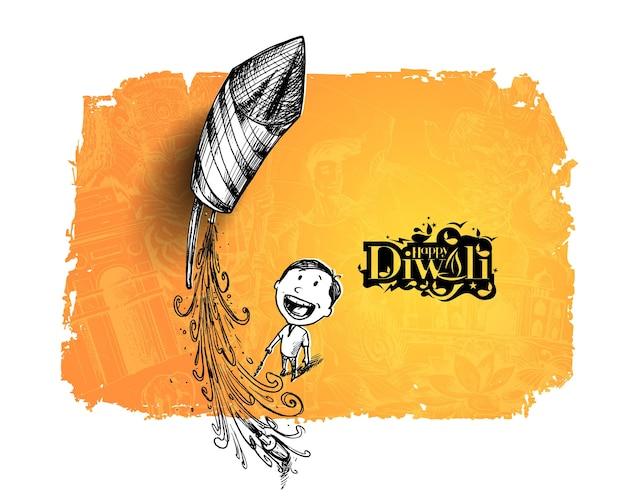 Junge fliegende rakete - indisches festival diwali-feier. - hand gezeichnete skizze, vektor-hintergrund.