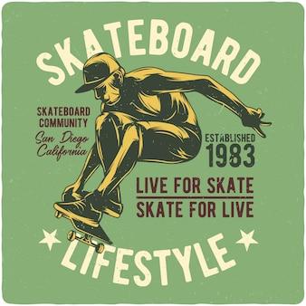 Junge fliegt auf skateboard