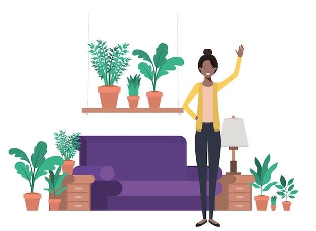 Junge frau afro im wohnzimmer avatar charakter