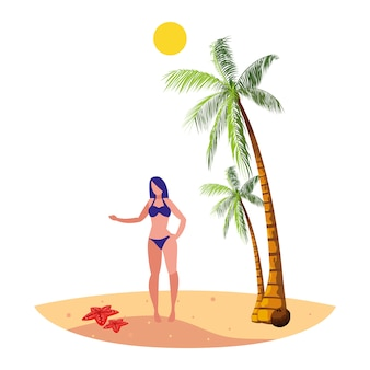 Junge frau am strand sommerszene