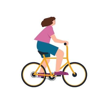 Junge frau auf dem fahrrad lächelndes glückliches mädchen fährt fahrrad weiblicher charakter