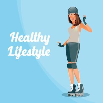 Junge frau auf rollschuhlaufen. aktive menschen. vektor-illustration