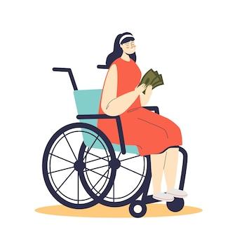 Junge frau auf rollstuhl, die geldunterstützung für behindertengeld hält. karikatur behinderte weibliche figur auf rollstuhl mit entschädigung für sozialversicherung.