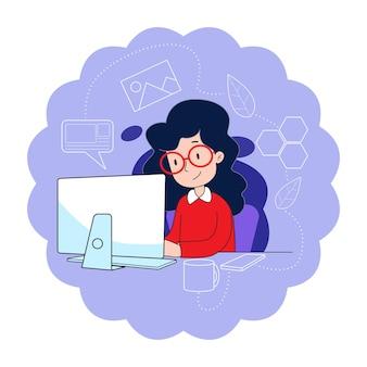 Junge frau benutzt computer, um zu arbeiten, um infektion zu reduzieren