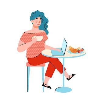 Junge frau benutzt laptop, um fern zu arbeiten, zu studieren, zu bloggen oder online zu kommunizieren. freiberufler oder studentin sitzt am tisch im café oder zu hause. karikatur isolierte illustration