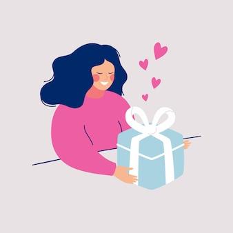 Junge frau der karikatur empfing geschenk mit liebe. mädchen öffnet große geschenküberraschung.