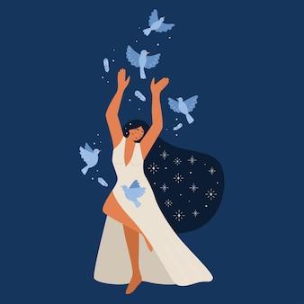 Junge frau der schönheit im langen weißen kleid und in den vögeln