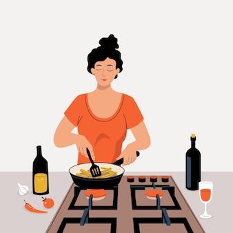 Junge frau des vektors kocht in der küche. cartoon-mädchen röstet kartoffeln auf dem herd. gekritzel-illustration