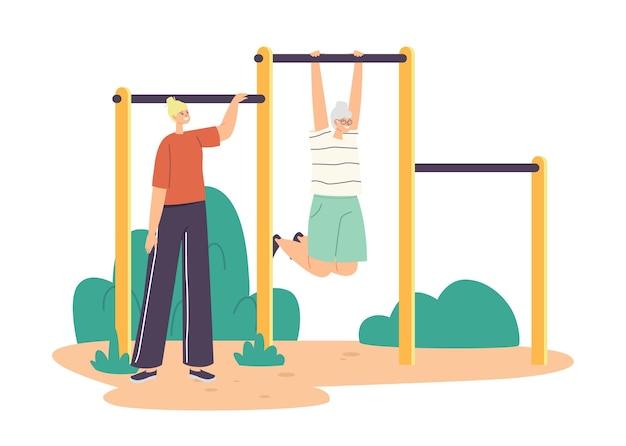 Junge frau, die ältere weibliche figur trainiert, die am reck trainiert, rentner macht übungen, outdoor-aktivitäten, sport, alte mutter und tochter gesundes leben. cartoon-menschen-vektor-illustration