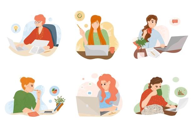 Junge frau, die am laptop im büro oder zu hause arbeitet. freiberuflerin oder geschäftsangestellte beim surfen im internet, chatten, bloggen, erstellen von ideen und marketingplänen am arbeitsplatz