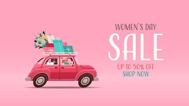Junge frau, die auto mit geschenken und blumen fährt frauentag 8 märz feiertagseinkaufsverkaufskonzeptbeschriftungsgrußkarte horizontale illustration
