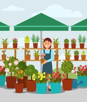 Junge frau, die blumen im straßenmarktstand verkauft. junges mädchen, das unter regenschirm steht und topf mit pflanze hält. flaches design