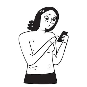 Junge frau, die ein mobiltelefon verwendet, das viele der funktionen eines computers ausführt, normalerweise mit einer touchscreen-oberfläche, internetzugang und einem betriebssystem, das zum herunterladen geeignet ist