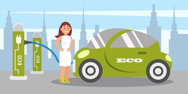 Junge frau, die elektroauto an der ladestation auflädt, umweltfreundliches alternatives transportfahrzeug illustration in