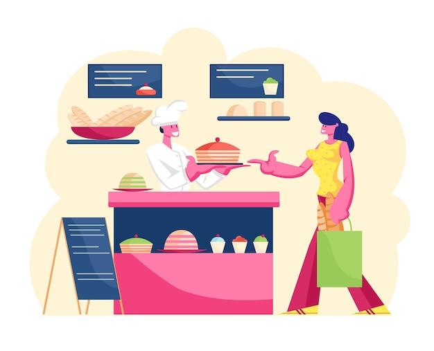 Junge frau, die gebäck in der bäckerei mit unterschiedlicher produktion auf schaufensterbestellung am schalter kauft. karikatur flache illustration