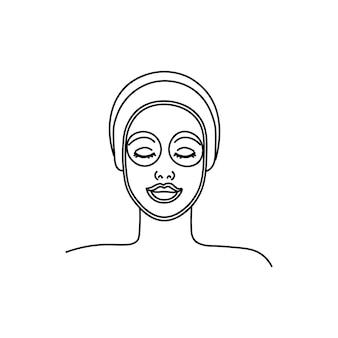 Junge frau, die gesichtsmaske anwendet linie mädchen abstrakte minimalistische silhouette