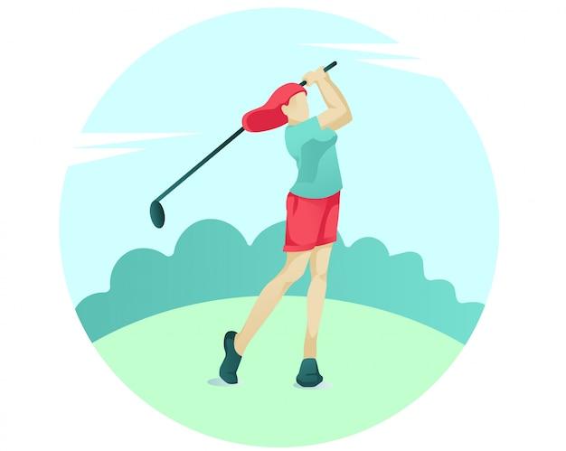 Junge frau, die golf mit verein auf grünem gericht spielt