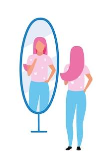 Junge frau, die halbflachen farbvektorcharakter des spiegels betrachtet