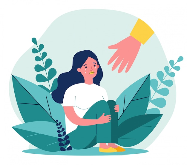 Junge frau, die hilfe erhält und von stress heilt