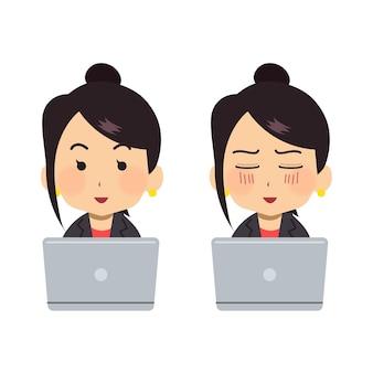 Junge frau, die im büro mit laptop arbeitet
