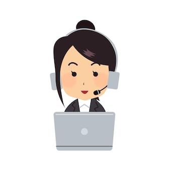 Junge frau, die im büro mit laptop und kopfhörern kundenservice und callcenter arbeitet